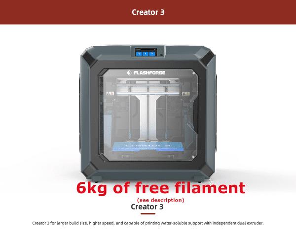 Flashforge Creator 3 3D printer (with 10kg  Aurarum PLA filament)