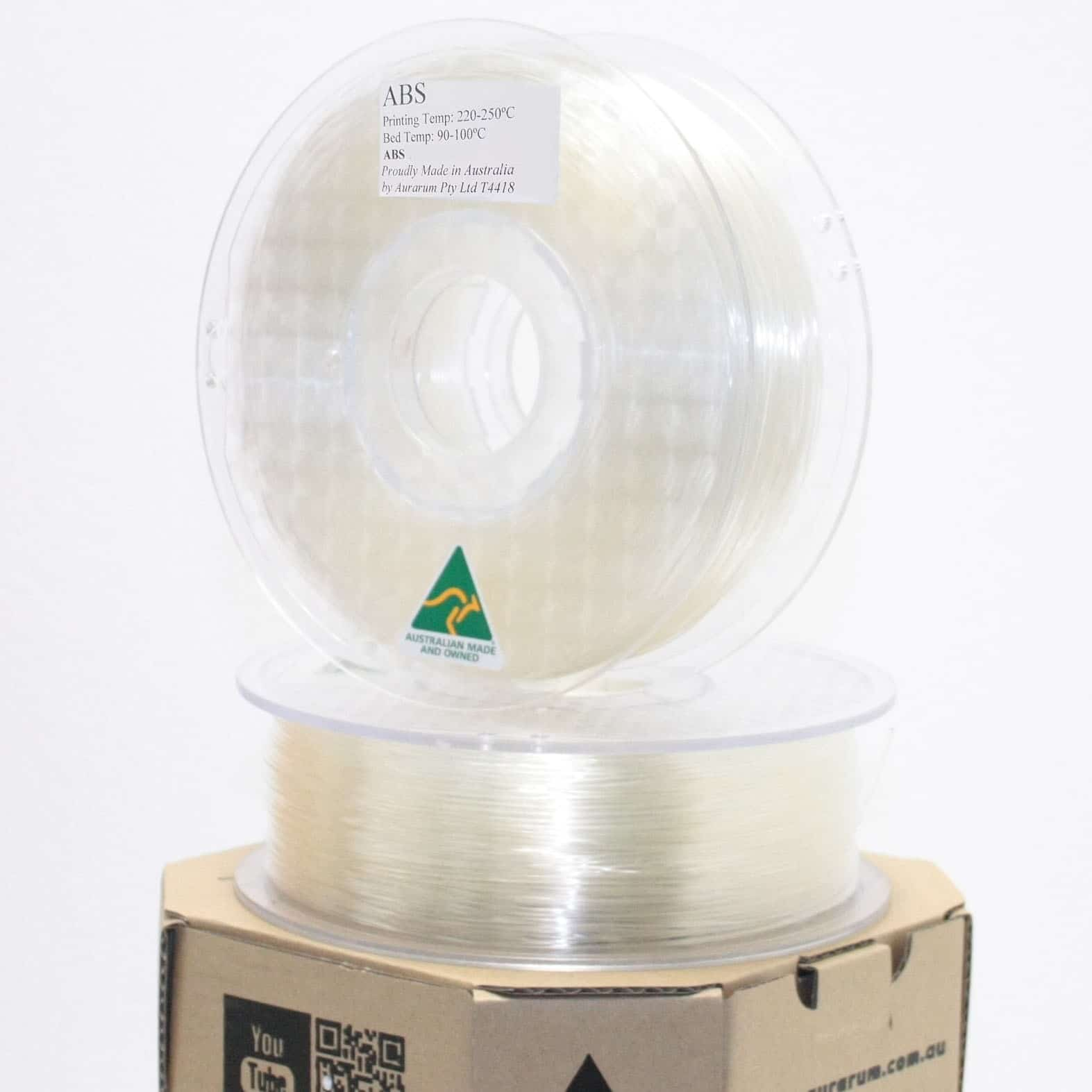 Aurarum ABS 3D Printer Filament - Translucent 2.85mm Made In Australia 1Kg
